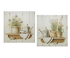 set di 2 quadri decorativi natura morta - 60x60 cm