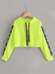 Neon Lime Letter Tape Drawstring Crop HoodieCheck out this Neon Lime Letter Tape Drawstring Crop Hoodie on Romwe and explore more to meet your fashion needs! Neon Outfits, Cute Lazy Outfits, Crop Top Outfits, Teenage Outfits, Stylish Outfits, Grunge Outfits, Girls Fashion Clothes, Teen Fashion Outfits, Emo Fashion