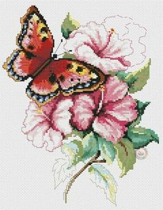 butterfly with pink flowers 2 Más Butterfly Cross Stitch, Cross Stitch Rose, Cross Stitch Flowers, Beaded Embroidery, Cross Stitch Embroidery, Cross Stitch Patterns, Patterned Carpet, Close Image, Goblin