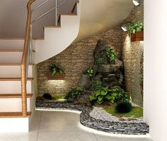 Resultado de imagen para how to decorate space under stairs with plants