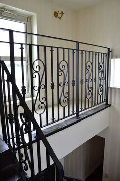 Exterior Stair Railing, Metal Stair Railing, Patio Railing, Wrought Iron Stairs, Balcony Grill Design, Balcony Railing Design, Window Grill Design, Door Gate Design, Iron Balcony
