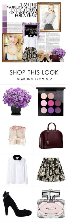 """The Vampire Diaries- Elena Gilbert"" by mayaragirl ❤ liked on Polyvore featuring By Terry, MAC Cosmetics, Louis Vuitton, Comme des Garçons, Zibi London, Melissa and Gucci"