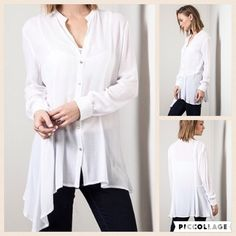 Asymmetrical hem blouse 65% cotton 35% poly. Semi sheer super soft and flowy. PRICE FIRM UNLESS BUNDLED A Bohemian Child Tops Blouses