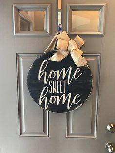 Home Sweet Home Sign Front Door Decor Year Round Wreath Round Wood Sign Wreaths For Front Door Wood Signs For Home, Diy Wood Signs, Home Signs, Sayings For Wood Signs, Front Door Signs, Front Door Decor, Wreaths For Front Door, Front Doors, Entrance Doors