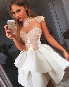 cute white lace short prom dress, white homecoming dress, formal dress