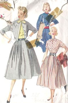 "1950s Misses Rockabilly Dress Vintage Sewing Pattern, Full Skirt and Matching Jacket Simplicity Pattern 4207 Bust 34"". via Etsy."