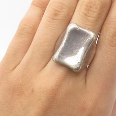 Vtg 925 Sterling Silver Square Ring Size 6 3/4