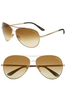 b1fda3aac4c Tom Ford Charles FT0035 Gold Brown Polarized Aviator Sunglasses  380  Retail