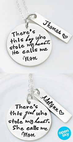 This personalized mother/son or mother/daughter sterling silver charm necklace is such a thoughtful gift for the holidays and is hand-stamped with the name of your choice. Not only does it arrive in custom gift packaging, it makes for a sweet reminder that will be cherished for years to come.