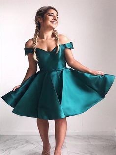 A-Line off-the-shoulder green satin homecoming dress ,short prom dresses Teal Homecoming Dresses, Hoco Dresses, Sexy Dresses, Evening Dresses, Fashion Dresses, Formal Dresses, Graduation Dresses, Banquet Dresses, Homecoming Ideas
