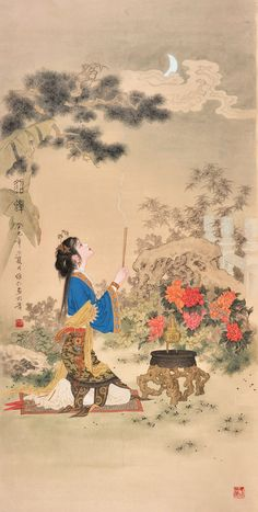 (China) Diao chan, one of the four ancient beauties by Xiang Weiren (项维仁, ). brush watercolor on silk. Japanese Prints, Japanese Art, Oriental, Art Chinois, Chinese Landscape Painting, Geisha Art, Art Japonais, China Art, China Painting