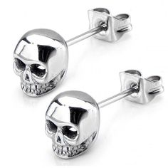 Check out this awesome unique style earring. This Women's Stainless Steel Polish Finish Skull Stud Earrings is very stylish. Made from a high quality stainless steel. hypoallergenic that prevents skin from being allergy. Finished with skull design. Skull Earrings, Skull Jewelry, Body Jewelry, Jewelry Box, Jewelry Accessories, Jewelry Design, Jewlery, Punk Jewelry, Hippie Jewelry
