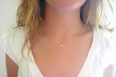 Tiny Star Necklace - Matte 14k Gold Plated Star Charm on Gold Delicate Chain w/ Mint Faceted Bead (also Silver tone available)