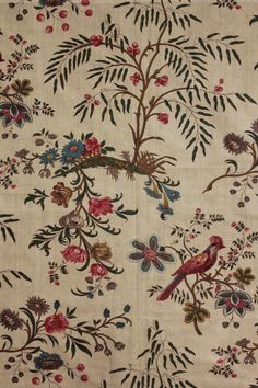 Antique French chintz linen cotton old woodblock printed c 1830 Indienne LOVEY | eBay