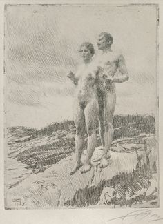 """Anders Zorn Beautiful... i presume it's graphite? Paint the page gray in watercolor and then use this """"stroke move"""". Love how density varies."""