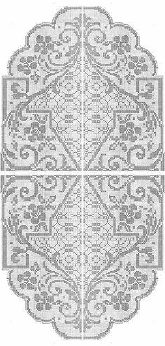Kira scheme crochet: Scheme no. Filet Crochet Charts, Crochet Doily Patterns, Thread Crochet, Crochet Motif, Crochet Designs, Crochet Doilies, Knit Crochet, Crochet Table Runner, Crochet Tablecloth