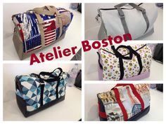 5 sacs Boston cousu lors d'un atelier L'I - Dé à coudre.  Patron de couture Sacôtin