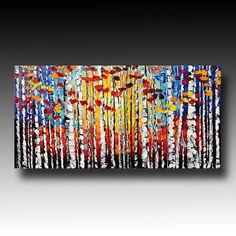 Original Oil Painting Aspen Birch Woods, by Beata Sasik