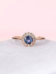 Sapphire engagement ring diamond rose gold engagement ring