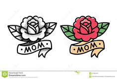 Traditional Rose Tattoo Stock Illustration - Image: 67484543