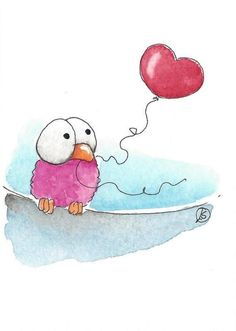 ACEO Original watercolor art painting whimsical bird balloon heart shaped lonely #IllustrationArt