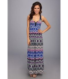 Sleeveless maxi dress in a pretty, tribal-inspired print.. Soft-stretch fabrication for easy wear....