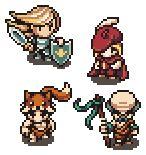 8-bit heroes: Knight, Red Wizard, Wildling & Monk