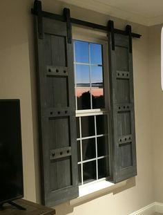 Rustic Wooden Shutters - Barn Window Treatments - www.woodennail.etsy.com