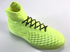 SR4U Caution Premium Soccer Laces on Nike MagistaX Proximo 2 Floodlights Glow Pack