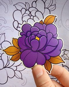Peony Flower Tattoos, Colorful Flower Tattoo, Flower Tattoo Designs, Traditional Tattoo Flowers, Neo Traditional Tattoo, Flor Oriental Tattoo, Oriental Flowers, Flash Design, Doodle Tattoo