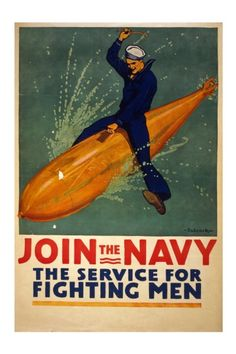 Join the Navy - The Service for Fighting Men - 10 x 15 Vintage World War I Poster Art Print. $19.99, via Etsy.
