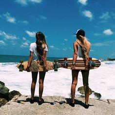blonde, brunette, clouds, foam, ocean