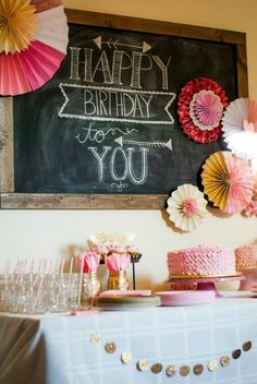 Birthday Buffet Chalk Board Art