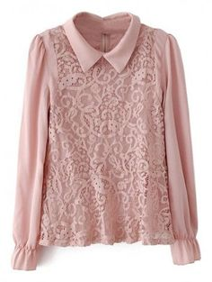design of blouse Lapel Lace Pink Blouse Pink Long Sleeve Tops, Designs For Dresses, Elegant Outfit, Blouse Designs, Blouses For Women, Fashion Outfits, Clothes, Lace Collar, Collar Top
