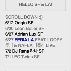 Soul Krush June/July Artists & Schedule San Francisco & Los Angeles  Full Info & Complimentary Guest-List  Visit > http://eepurl.com/bp2RvD  6/12 FRI. OMGFridays @ Origin SF 6/20 SAT. Leon Bolier @ RubySkye SF 6/27 SAT. Ladies Night LIVE @ Feria LA Feat. Loopy(루피) & Nafla (나플라) 7/02 THURS. DJ Rana (라나) @ Origin SF 7/11 SAT. EC Twins @ RubySkye SF  Follow Soul Krush SF & LA www.soulkrush.com www.facebook.com/soulkrush Instagram SoulKrushEnt  #SoulKrush #Nightlife #LIVE #Artists #DJ #Music…