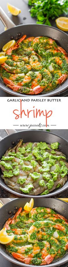 and Parsley Butter Shrimp - gorgeous jumbo shrimp slathered in an exquisite garlic and parsley butter and baked to perfection. Shrimp Dishes, Fish Dishes, Shrimp Recipes, Fish Recipes, Great Recipes, Dinner Recipes, Parsley Recipes, Slider Recipes, Recipies
