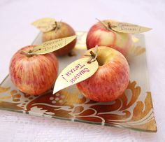 Rosh HaShana Table Decor- I can easily see this as a cute Rosh Hashana card (with message on the leaf) or as a place card.