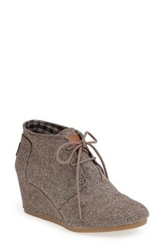 TOMS 'Desert' Herringbone Wedge Bootie (Women)