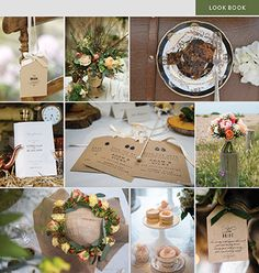 A wholesome and earthy wedding style, celebrating nature. Kraft luggage tag style wedding cards by Lily Anna Rose, fruit cake by Tartufi Cakes, order of service, Shown here; Coral Charm Peonies, Vendella and Cherry Brandy Roses, Cream and dark red Hypericum, Lilac Limonium, Gypsophila, Eucalyptus Parvi foliage to create this stunning hand-tied bouquet by Bridal Flowers Direct and gorgeous photo by Hana Venn. Cakes by Fancy Buns