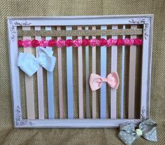 HairBow Holder Distressed Hair Bow Holder Bow Storage HairBow Organizer Shabby Rustic Headband Holder Girls Accessory HairClip Holder Bow by GraceandJewelsBow on Etsy https://www.etsy.com/listing/288024797/hairbow-holder-distressed-hair-bow