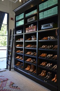 Men's shoes. A whole closet full of them.    via: MALE TRENDS A blog about men's fashion, lifestyle & more.