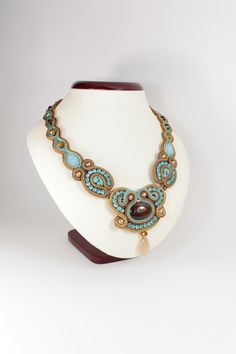 Etsy Transaction -          Soutache necklace in brown,gold,blue,cream.