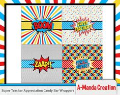 Super Teacher!  Super Hero Teacher Appreciation Candy Bar Wrappers, wrap up a Hershey chocolate bar with these printable super hero wrappers for an instant teacher appreciation gift!