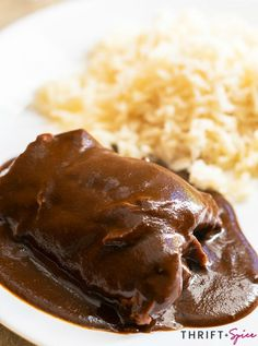 Easy Mole Recipe - Thrift and Spice Mexican Dinner Recipes, Mexican Cooking, Mexican Dishes, Easy Dinner Recipes, Great Recipes, Favorite Recipes, Easy Recipes, Dinner Ideas, Easy Meals
