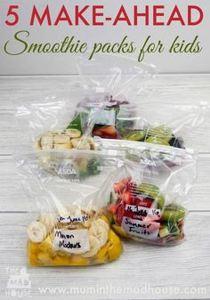 5 Make-ahead smoothie packs. Save time and take the stress out of making smoothies with our make-ahead smoothie packs that are kid approved. Family friendly smoothie recipes make having a heathy smoothy simple. Toddler Smoothies, Make Ahead Smoothies, Smoothie Recipes For Kids, Yummy Smoothies, Making Smoothies, Baby Food Recipes, Healthy Smoothies For Kids, Simple Smoothies, Homemade Smoothies