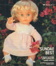 Sundae Best, First Love doll pattern (knit & crochet), from Your Family, July Doll Patterns, Clothing Patterns, Print Patterns, Knitting Patterns, Crochet Patterns, Crochet Doll Clothes, Crochet Dolls, Knit Crochet, Crochet Hats