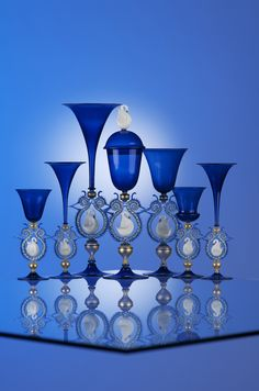 Cobalt Blue Cesare Toffolo Goblets. Venetian. (via the Corning Glass Museum)