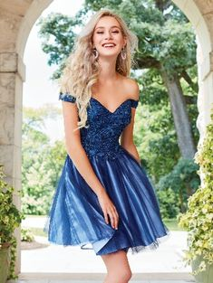 0ac02336c27 2018 Tule Off-the-shoulder Zipper Blue Embroidery Sleeveless A-line Short  Length Prom   Homecoming Dresses 3464
