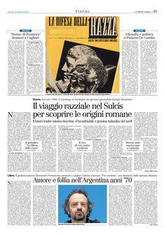 """L'Unione Sarda. 16 febbraio 2010. Alberto Monteverde. """"Il Viaggio razziale nel Sulcis di Almirante""""."""