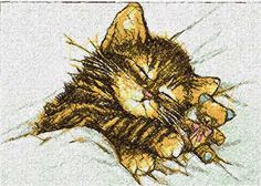 Sleeping kitty photo stitch free embroidery design - Photo stitch embroidery designs - Machine embroidery community